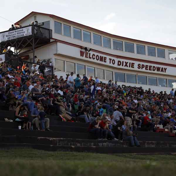 main stands at Dixie Speedway full crowd