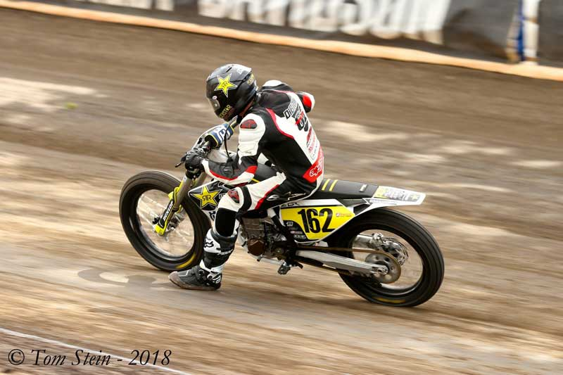 Andy at Calistoga Half Mile American Flat Track Racking on his brand new Rock Star Energy Drink sponsored Husquavarna.   #162.