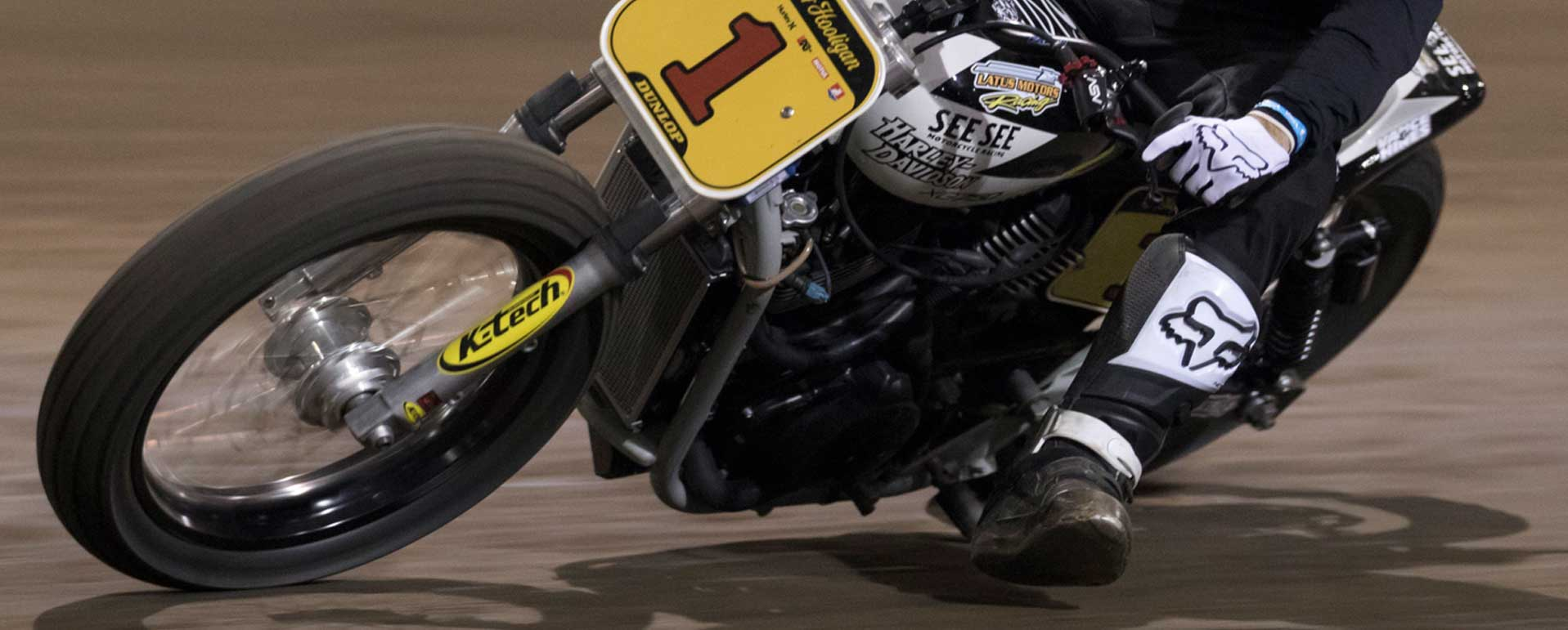 Salem, Oregon The 1 Pro motorcycle flat track racing round 1 of Super Hooligan National Championship and put on by The 1 Pro Moto Show in Portland rider is Andy DiBrino, 2017 Super Hooligan National Champion