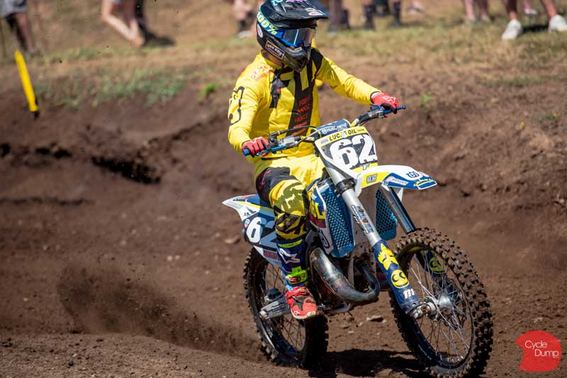 Andy riding Washougal Pro Motocross National racing in the 125 Dream Race Invitational Class.