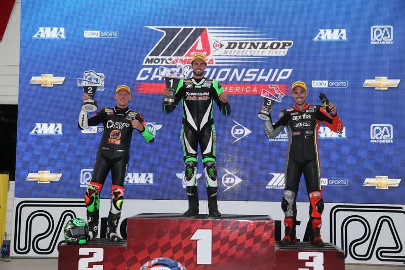 Andy on the podium MotoAmerica Wisconsin.