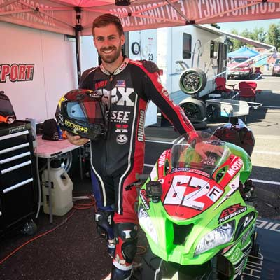 Andy at the first Oregon Motorcycle Road Racing event this year at Portland International Raceway in his paddock with his new Kawasaki ZX-10R