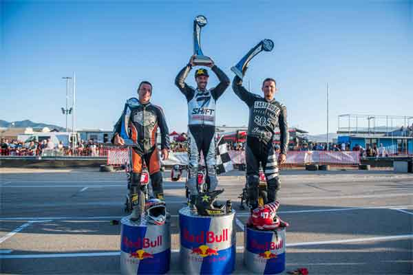 Andy DiBrino wins the first ever RSD Super Hooligans flat track race in Nitro World Games Utah on the podium