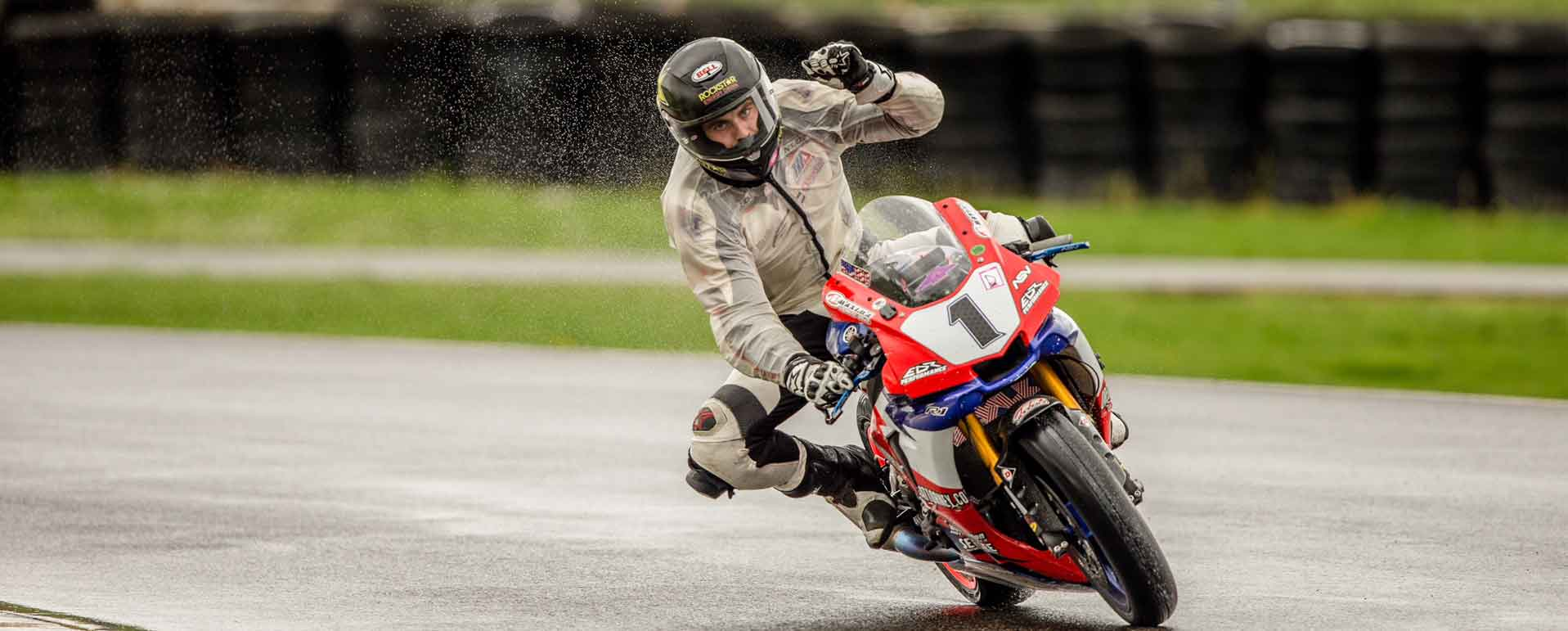 Andy after a win in wet contditions racing his R1 1000cc motorcycle at Portland International Raceway OMRRA round 1 series