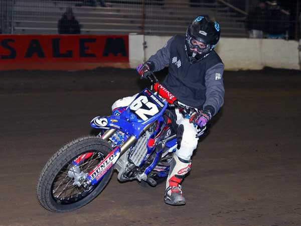 Andy DiBrino flat track motorcycle racing at Salem Speedway  on a 450 cc.