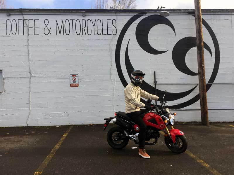 Andy DiBrino pictured on his new Honda Grom visiting See See Motorcycles in Portland